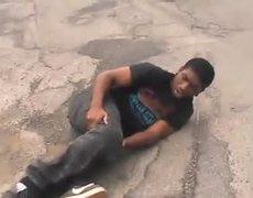 Guy breaks his leg