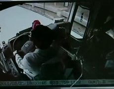 Bus caught on CCTV in near-miss