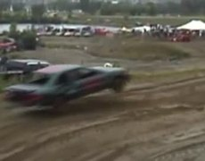 Car jumps OVER another one in a rally!