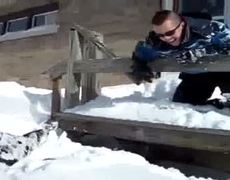 tries to dive into the snow