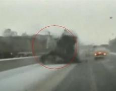 Truck Crashing Over Median Caught on Tape