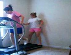 Two girls treadmill fail