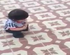 Baby falls on chick