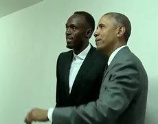 Obama meets Usain Bolt en Jamaica