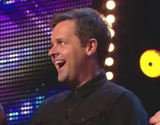 Britains Got Talent 2014 Dec assists magic act Alex Lodge with his levitating table