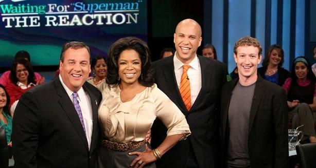 Christie, Winfrey, Booker y Zuckerberg tras el anuncio de la donación