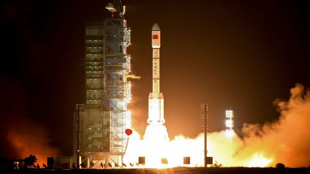 La estacion espacial Tiangong-1 durante su lanzamiento original
