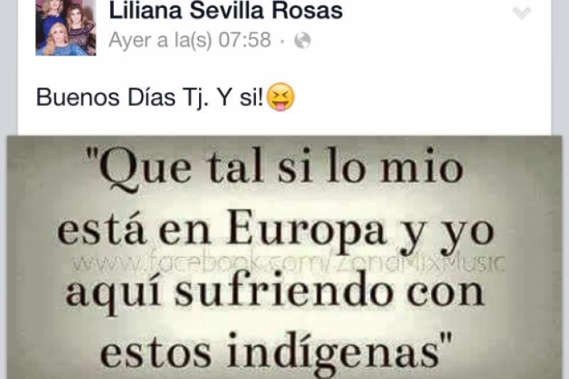 Foto: Publicación de Liliana Sevilla que causó controversia en Facebook/Facebook
