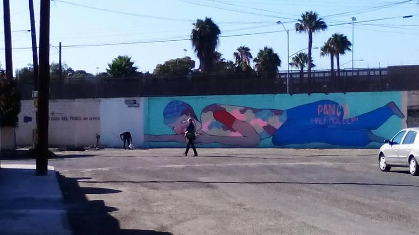 The mural being painted over. Photo: Gerardo Mápula