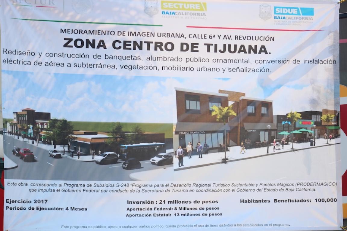 Esta es la pancarta de presentación de las remodelaciones de la calle sexta ¿Qué te parecen los cambios?