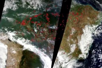 Así se ve el incendio en el Amazonas en fotos satelitales