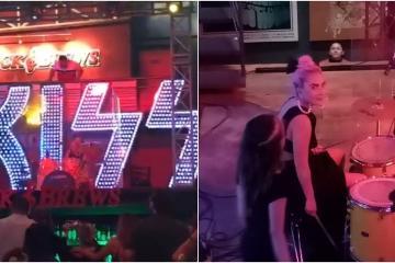 Lady Gaga sorprende tocando la batería en bar de Los Cabos