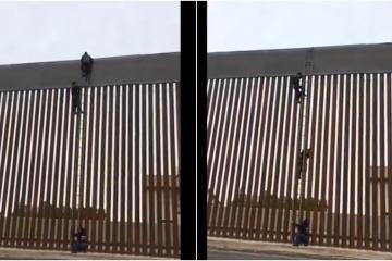 Con una escalera se brincan muro fronterizo de Trump en Mexicali