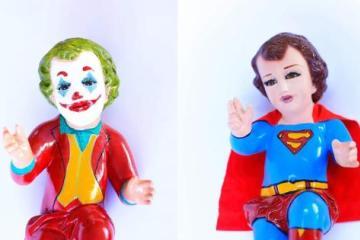 En México venden a niño Dios vestido de Joker, Superman o Goku
