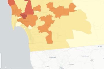 Mapa te muestra los casos positivos de Covid-19 por zona en San Diego