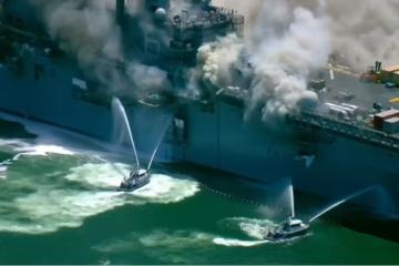 Se incendia buque de guerra en base naval en San Diego