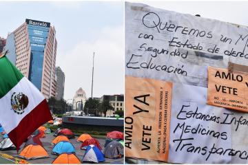 Continúa en pie plantón FRENA: Exigen la renuncia de AMLO