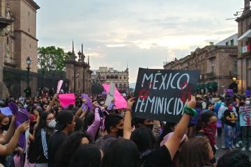 Fuerte protesta en Morelia por asesinato de Jessica González