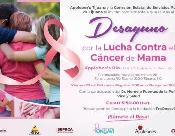 Anuncian desayuno a favor de la lucha contra el cáncer de mama