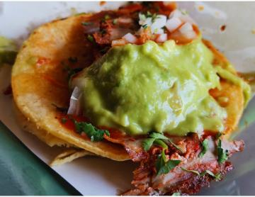 A $15 peso adobada taco at this Tijuana taqueria left us delighted.