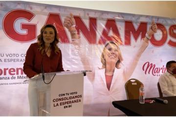 Marina del Pilar se declara ganadora de la gubernatura de Baja...