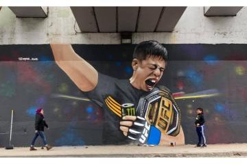 Mural in honor of champion Brandon Moreno appears in Tijuana