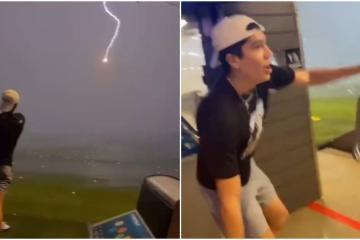 Pelota de golf en pleno aire es golpeada por rayo