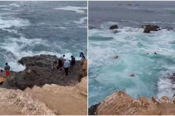 Video: Ignoran letreros y casi se ahogan en La Bufadora