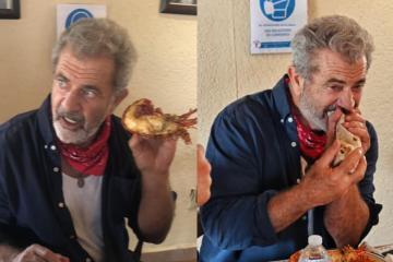 Mel Gibson y Eduardo Verástegui comen langosta en Puerto Nuevo