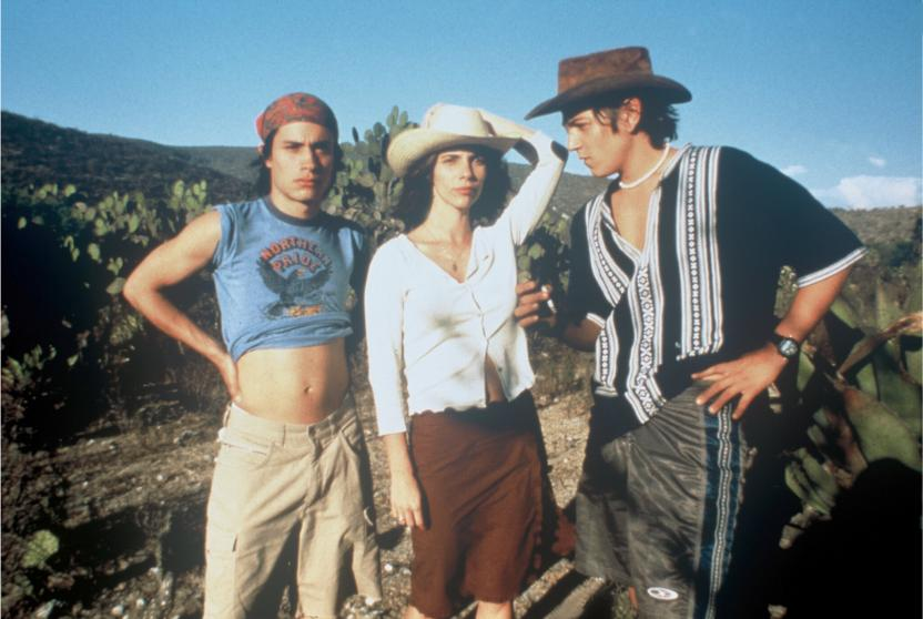 """Gael García Bernal, Maribel Verdú y Diego Luna en """"Y tu mamá también"""" (2001, Dir. Alfonso Cuarón)"""