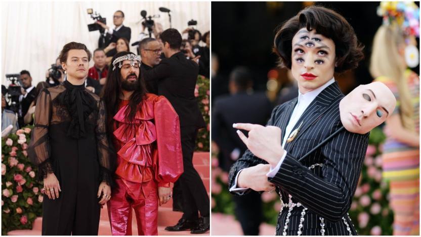 """Harry Styles, Alessandro Michele y Ezra Miller en la edición de 2019, cuya temática fue """"Camp: Notes on Fashion"""""""