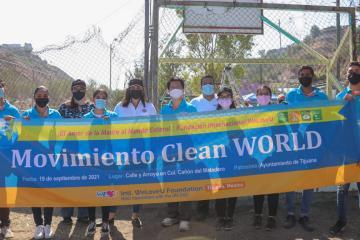 "Tijuana City Hall and ""We Love U"" Foundation clean up..."