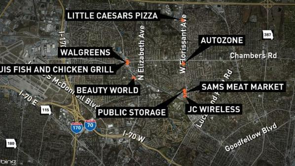 Map of burned and vandalized business in Ferguson. Imagen: https://twitter.com/ksdknews/status/537158701921353728/photo/1