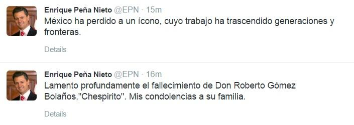 Mexican President Enrique Peña Nieto offered condolences to Chespirito's family after his death, through Twitter.