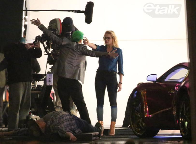 Jared Leto y Margot Robbie en el set de Escuadrón Suicida en Toronto