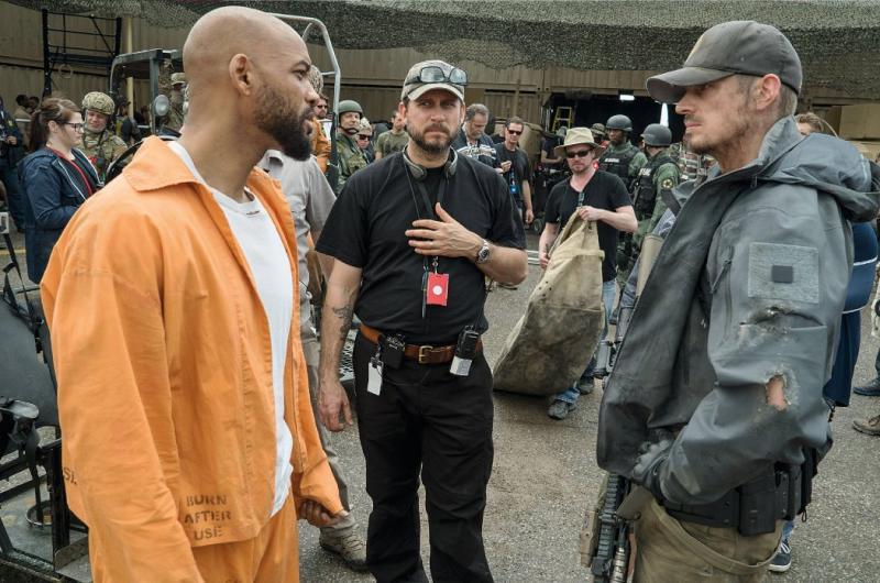 Will Smith, Joel Kinnaman y David Ayer en el set de Escuadrón Suicida