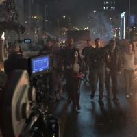 Parte del elenco durante el rodaje