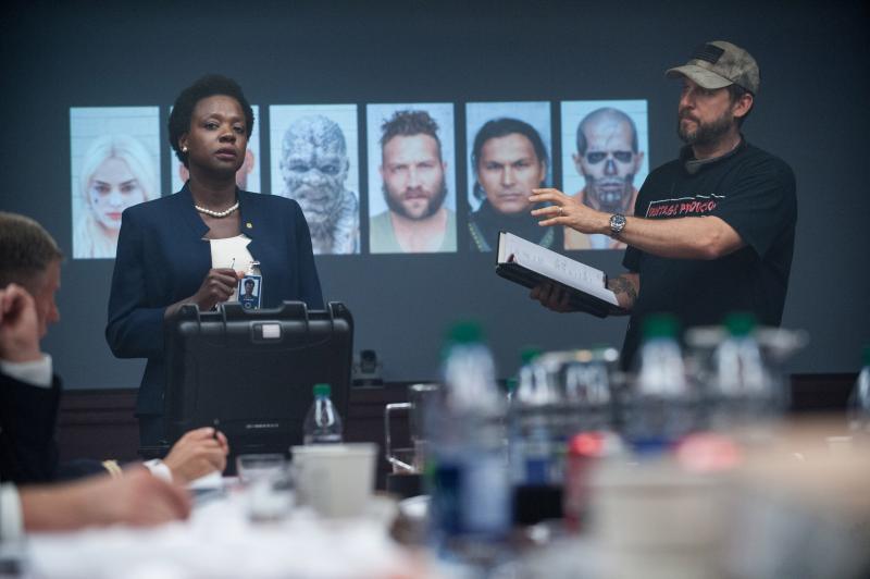 Viola Davis y David Ayer durante el rodaje
