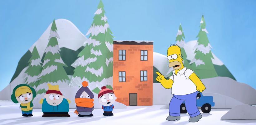 Homero Simpson conoce South Park en su nuevo Couch Gag