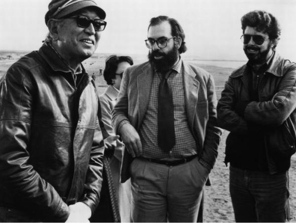 Akira Kurosawa, Francis Ford Coppola y George Lucas en el set de Kagemusha