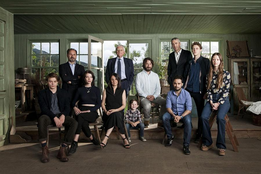 Ghislain Barrois, Sergio G. Sánchez, George MacKay, J.A. Bayona, Belén Atienza, Álvaro Augustin, Mia Goth, Matthew Stagg, Anya Taylor-Joy, and Charlie Heaton at an event for Marrowbone (2017)