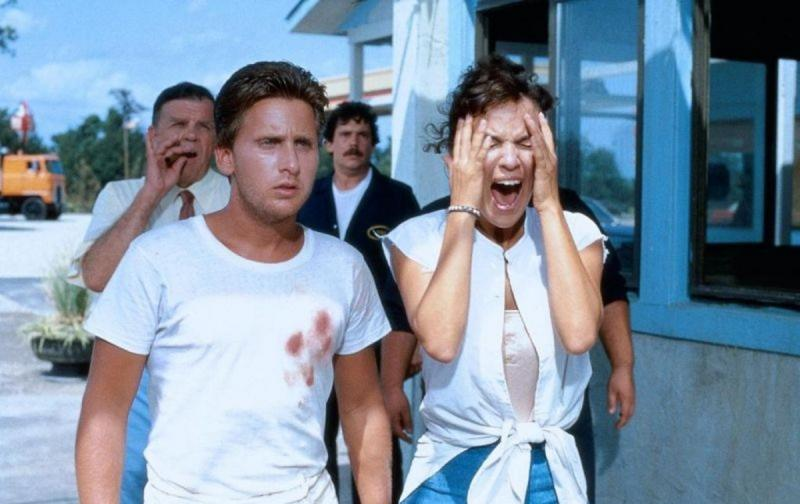 Emilio Estevez, Laura Harrington, and Pat Hingle in Maximum Overdrive (1986)