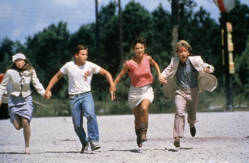 Emilio Estevez, Laura Harrington, John Short, and Yeardley Smith in Maximum Overdrive (1986)