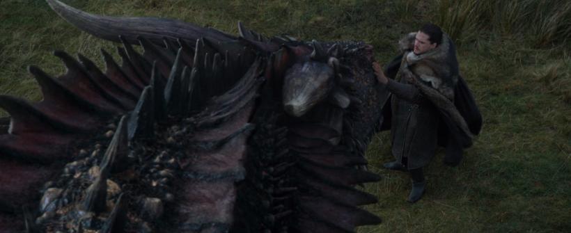 Encuentro entre Jon Snow y Drogon en Game Of Thrones 5X7