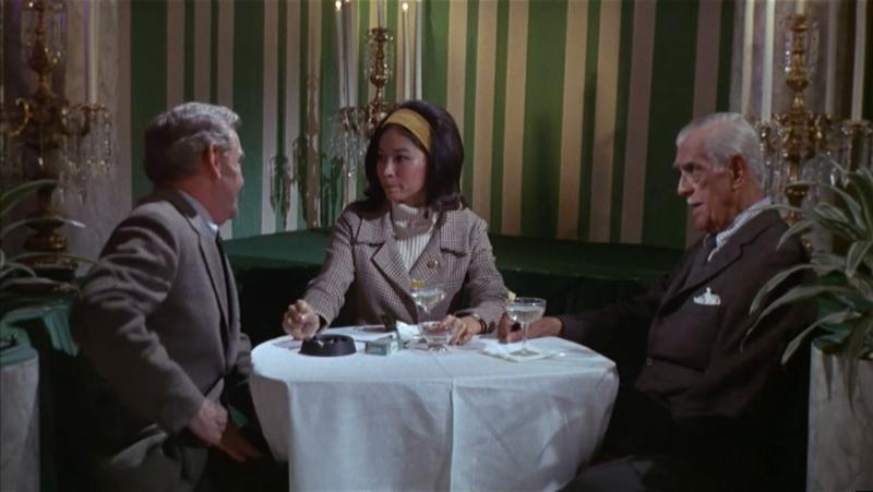 Boris Karloff, Nancy Hsueh, and Arthur Peterson in Targets (1968)