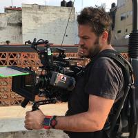 Javier Colinas en la filmación de  A ti te quería encontrar (2018)