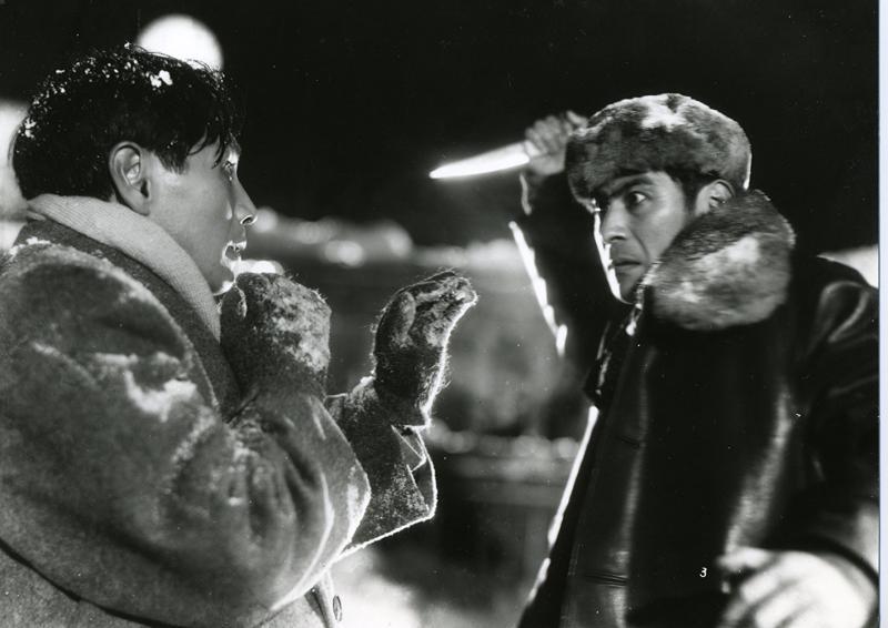Toshirô Mifune y Masayuki Mori en El Idiota (1951)