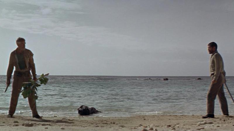 Lee Marvin y Toshirô Mifune en El Infierno del Pacifico (1968)