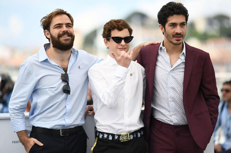 Peter Lanzani, Chino Darín y Lorenzo Ferro en la presentación de El Ángel (2018) en el Festival de Cannes.