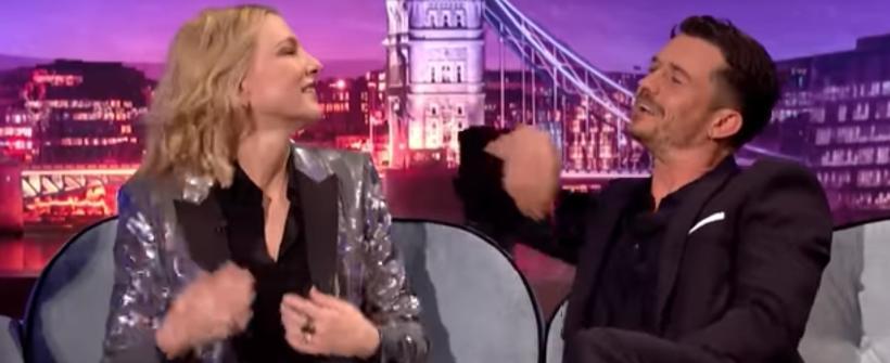 Cate Blanchett y Orlando Bloom en The Late Show con James Corden